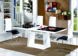 renato black white modern high gloss and gl large extending dining table