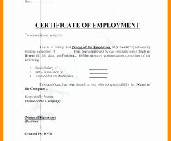 Sample Template Of Certificate Employment With Compensation