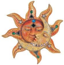 sun face garden decor celestial sun moon mosaic wall art hanging metal home decor outdoor garden
