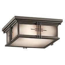 kichler lighting 49164oz 2 light portman square flush outdoor close to ceiling light