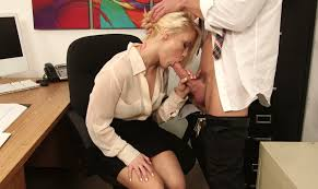 Blonde secretary giving nice blow job