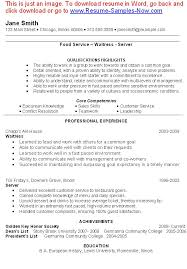 sample waitress resume waitress resume description restaurant  resume examples waitress resume example for food service professional experience and achievements waitress resume templates for waitress
