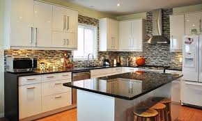 granite kitchen countertops with white cabinets. Impressive Kitchen Decorating Ideas With White Cabinet And Bamboo Floor Using Glossy Black Granite Countertop Countertops Cabinets