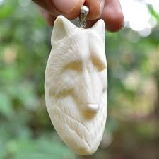 carved wolf head pendant 3 natural buffalo bone carving bp1824