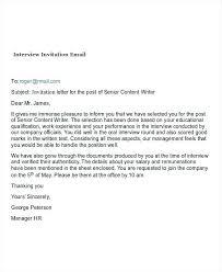 Job Interview Request Email Sample Invitation Invite Template Letter