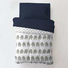 navy and gray elephants toddler bedding