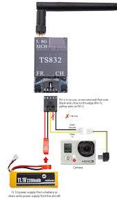 fpv transmitter and receiver skyzone 5 8ghz fpv system ts832 tx we are using gopro hero 3 as the camera