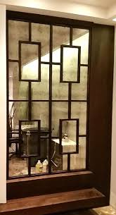 Custom framed mirrors antiqued mirror accent wall with craftsman style  wooden detail amipublicfo Gallery