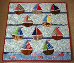 Baby Quilt or Lap Quilt Nautical Sailboat MADE TO ORDER | Sailboat ... & The Regatta Quilt Adamdwight.com