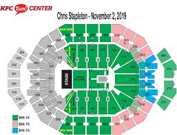 Yum Center Seating Chart Women S Basketball Chris Stapleton Kfc Yum Center