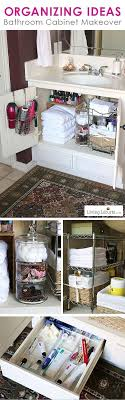 Great Organizing Ideas for your Bathroom! Cabinet Organization Makeover -  Before and After photos. So many creative ideas for a clean, organized bath.