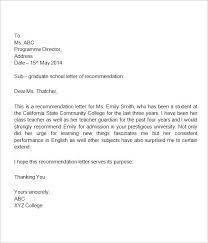 College Recommendation Sample Sample Recommendation Letter For Student From Teacher