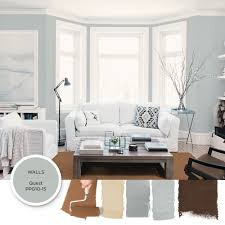 Light gray-blue paint color Quest by PPG is featured in this modern, airy  living