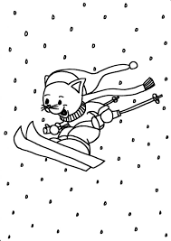 Kleurplaat Poes Wintersport Ski Ik Wil Een Poesnl