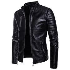man leather clothing single color wrinkle fashion leisure time jacket coat black xl