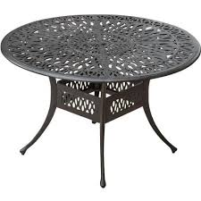 rosedown 48 inch round cast aluminum patio dining table by vintage round metal patio table