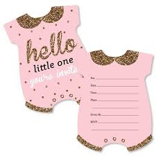 Hello Little One Pink And Gold Shaped Fill In Invitations Girl