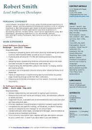 Software Developer Resume Samples Lead Software Developer Resume Samples Qwikresume