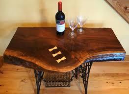 custom made beautiful live edge black walnut singer sewing machine table desk bar