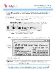 Citing A Newspaper In Mla