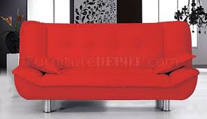 red faux leather contemporary sofa bed