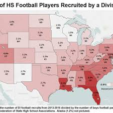 Ncaa Map Ranks States By How Many Football Players Become Di