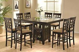 coaster hyde 9 pc counter height dining set with storage base in cappuccino