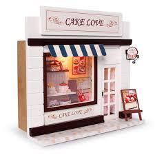 dollhouse miniature diy kit w light cake bakery bread 3d miniature dollhouse wood