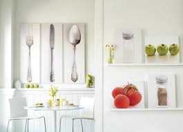 surprising kitchen dining room wall art decor showing cutlery sets wall picture and round white dining table also glass flower vase centerpieces