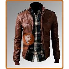 slim fit biker dark brown stylish leather jacket mens slim fit leather jacket uk