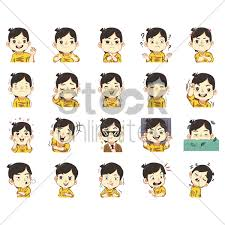 Collection Of Boy With Expression Stickers Vector Image 40 Adorable Upset Feelings Stickers