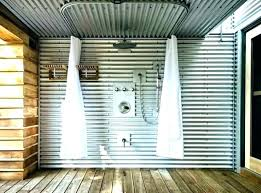 galvanized metal skirting corrugated ceiling tiles tin shower how to install in x 5 ft designs backyard bungalow with corrugated metal