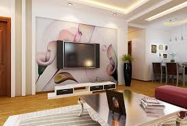 Living Room:Beauty Living Room With TV Background Wall With Big Flower  Wallpaper Beauty Living
