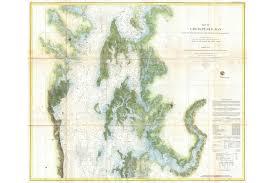 Details About Map Of The Chesapeake Bay 1857 U S Coast Survey Chart Uscs