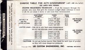 Lee Dipper Chart Charge Table For 45 70 Gov