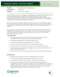 Chase Personal Banker Manager Resume Principal Duties Personal