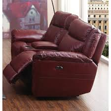 red leather match power reclining loveseat k motion rc willey furniture