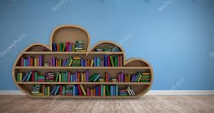 books on cloud shaped wooden shelves stock photo