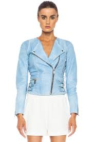 image 2 of barbara bui printed lambskin leather moto jacket in light blue