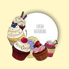 Vector De Fondo Con Diferentes Cupcakes Y Borde Redondo Para El