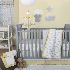 the peanut shell 4 piece baby crib bedding set grey clouds polka dots and yellow trim 100 cotton quilt dust ruffle fitted sheet