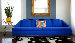 blue sofas living room: royal blue sofa modern living room with