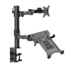 fleximounts 2 in 1 dual monitor arm desk mount laptop stand fits 10 in