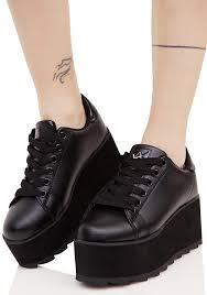 y r u black lala platform sneakers