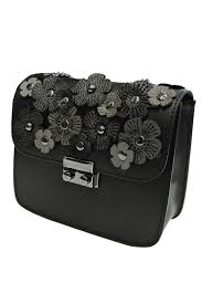 leather country flower leather bag front full image