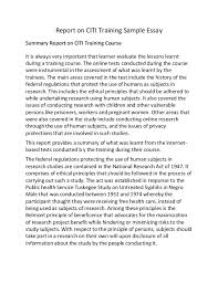 report on citi training sample essay report on citi training sample essay summary report on citi training course it is always very