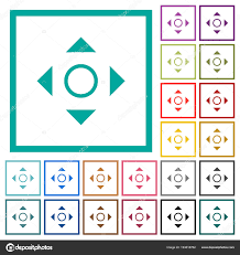 scrolling tool flat color icons with quadrant frames stock vector