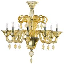 treviso amber 8 light murano glass chandelier