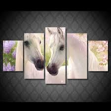 5 panel colorful horse large hd printed canvas painting modern animal picture landscape for living room