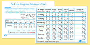 Bedtime Charts Free Free Bedtime Progress Behaviour Chart Bedtime Progress